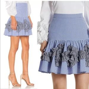 ALEXIS Daly Ruffle Gingham cotton skirt size M